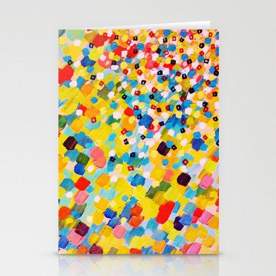 SWEPT AWAY 2 - Vibrant Colorful Rainbow Mango Yellow Waves Mermaid Splash Abstract Acrylic Painting Stationery Cards