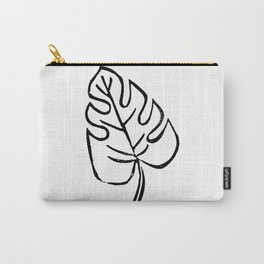 Mini monstera leaf linocut black and white basic art print minimalist gifts tropical leaves Carry-All Pouch