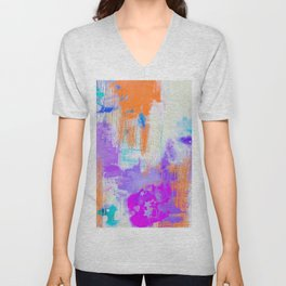 Abstract Painting with Stencil Unisex V-Neck