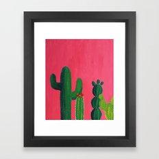 Pink cactus Framed Art Print