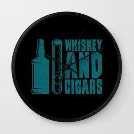CIGAR AND WHISKEY Whisky Aficionado Gift Cigar Smoker Wall Clock