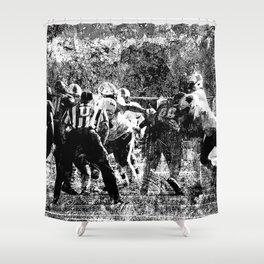 College Football Art, Black And White Shower Curtain