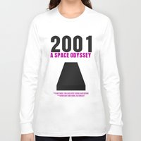 2001 a space odyssey Long Sleeve T-shirts featuring 2001: A Space Odyssey Movie Poster by FunnyFaceArt