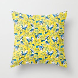 Flying Birds and Oak Leaves on Yellow Throw Pillow