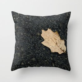 Autumn Leaf With Raindrops Throw Pillow