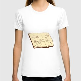 Map of Trail with X Marks The Spot Woodcut T-shirt