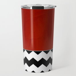 Shiny Copper Crimson Red And Black And White Chevron Pattern Travel Mug