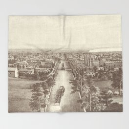 Vintage Pictorial Map of Salt Lake City (1867) Throw Blanket
