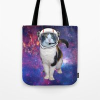 space cat Tote Bags featuring Space cat by S.Levis