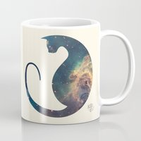 space cat Mugs featuring Space Cat by Kit & Cat