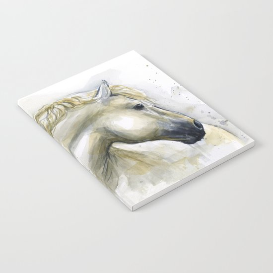 White Horse Watercolor Painting Animal Horses Notebook