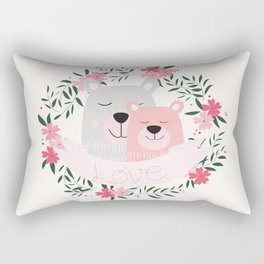 Mommy and Me Cute Baby Animal Nursery Bears and Flowers Pink Rectangular Pillow