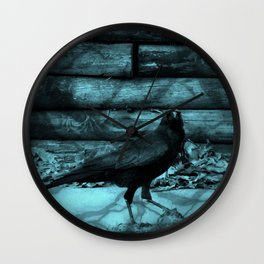Blue Crow Shadows Wall Clock