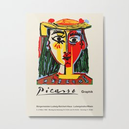 Pablo Picasso. Vintage poster for exhibition in Ludwigshafen am Rhein, Germany, 1968. Metal Print