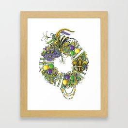 Mardi Gras Wreath Framed Art Print
