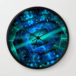 abstract green blue star fractal with bokeh Wall Clock