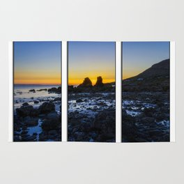 Sunset Through The Rocks Tryptych Rug