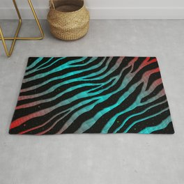 Ripped SpaceTime Stripes - Red/Cyan Rug