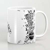 hong kong Mugs featuring Hong Kong by Maps Factory