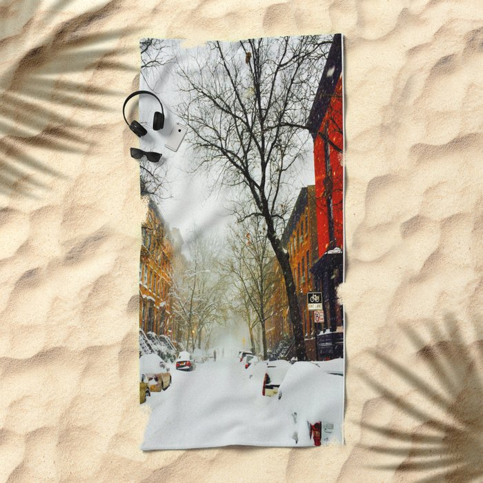 NYC @ Snow Time Beach Towel