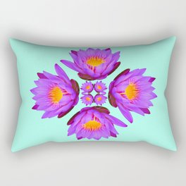 Purple Lily Flower - On Aqua Blue Rectangular Pillow