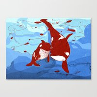 killer whale Canvas Prints featuring killer whale by Elettra