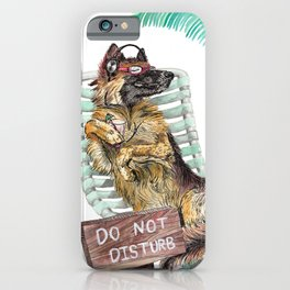 Lounge in the Sun, funny German shepherd dog GSD watercolor painting iPhone Case