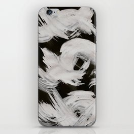 Brush, Abstract, White & Black iPhone Skin