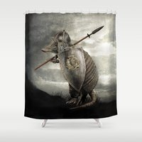 battlefield Shower Curtains featuring Armadillo by Eric Fan & Viviana González by Eric Fan