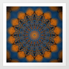 Vibrant Orange blue mandala Art Print