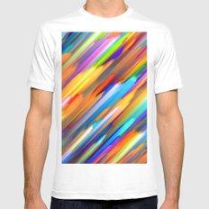 Colorful digital art splashing G391 White MEDIUM Mens Fitted Tee