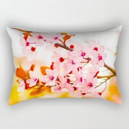 Beautiful Floral Pink Cherry Blossoms With Orange Leaves As Accent Rectangular Pillow