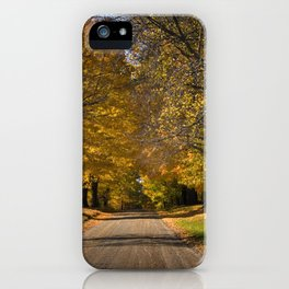 Rural Country Gravel Road in Autumn iPhone Case