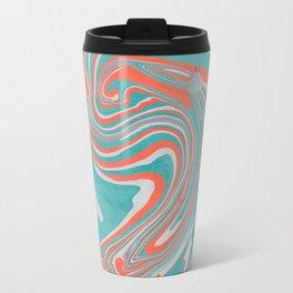 Green, White & Orange Marble Pattern Travel Mug