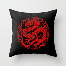 Traditional Red Chinese Dragon Circle Throw Pillow