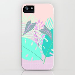 Modern tropical leaves print with monstera iPhone Case