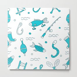 fishing pattern Metal Print