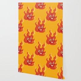 Happy Burning Cartoon Fire Wallpaper