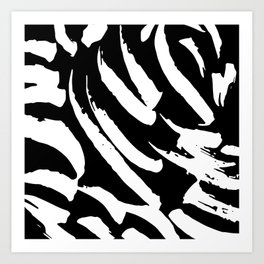 Black and White Brush Strokes Art Print