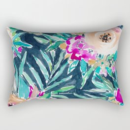 SO CASUAL Dark Tropical Palm Floral Rectangular Pillow