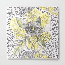 yellow and gray feathers Metal Print