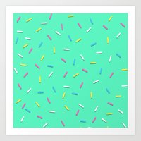 sprinkles Art Prints featuring Sprinkles! by Planet64