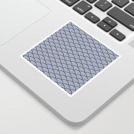 Navy Blue Seigaiha Sea Wave Nautical Minimalist Sticker