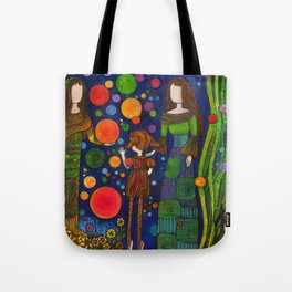 Playing with orbs Tote Bag