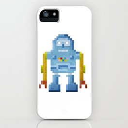 Blue pixel robot #1 iPhone Case
