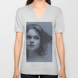 Behind greyness - pencil drawing on paperboard Unisex V-Neck