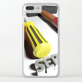 Hammer and screwdriver for Service - 3D rendering Clear iPhone Case