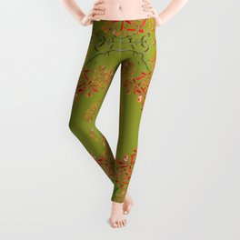 Orchids on Olive Green Leggings