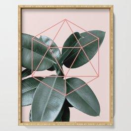 Geometric greenery III Serving Tray
