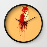 fox Wall Clocks featuring The fox, the forest spirit by Picomodi